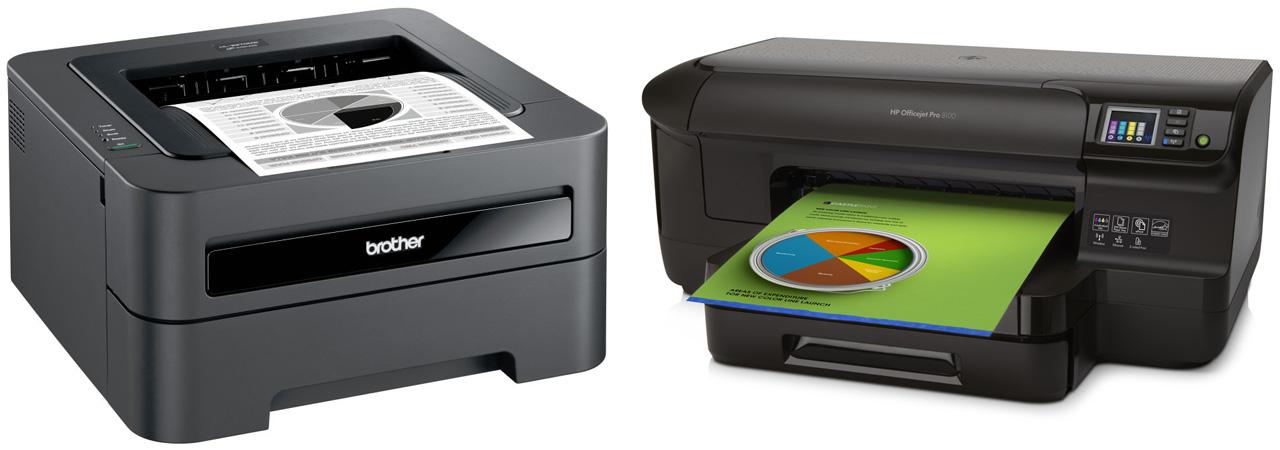 Links Laserdrucker (Brother) und rechts Tintenstrahldrucker (HP)