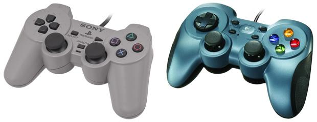 links Sony Dual-Schock (1997) und rechts Logitech F510 (2010)